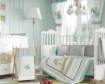 Green Elephant Crib Collection 4 Pc Crib Bedding Set