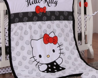 Hello Kitty Black Quilt - Baby Blanket
