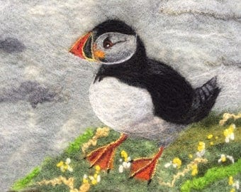 Puffin and flowers - MADE TO ORDER