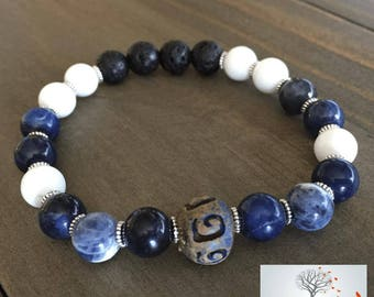 "Natural Stone Elastic Bracelet - ""Logical Outcomes"" (Sodalite, White Mountain Jade, Lava Rock)"