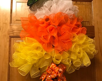 Fall Candy Corn Wreath Witch