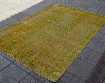Vintage overdyed rug. Turkish vintage rug. Yellow carpet. Oversize rug. Free shipping. 9.7 x 6.4 feet.