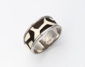 "Enamel Silver Ring ""Africa"", Giraffe ring, Animal jewelry"