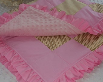Baby Girl Patchwork Quilt,Nursery Decor,Modern,Grib Quilt,Crystalline Solid Pink,Gold,Play mat.