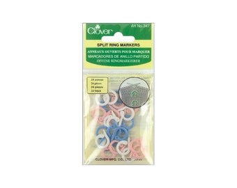 Split Ring Stitch Markers - Clover - cute, white, blue, pink - knitting, crochet