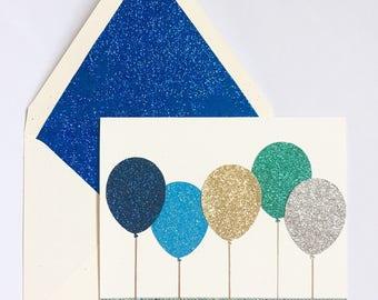 Happy Birthday // Congratulations // Sparkly Balloons // Handmade Card