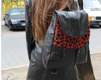 Backpack, leather, coat fabric, upcycling