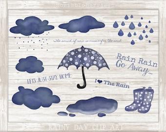 Rainy Day Clip Art, Rain Clip Art, Cloud Clip Art, Rain boots Clip Art, Painted Clip Art, Cute Clipart, Umbrella Clip Art, Mud Puddle