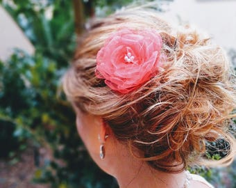 Elegant Coral Hair Flower with silver Swarovski crystals and Pearls. Stunning accessory for various occasions.