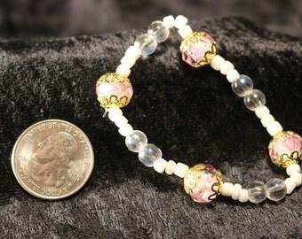 Lovely Pink and White Elastic Bracelet