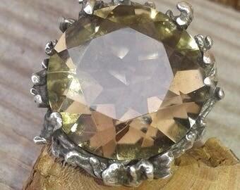 Vintage Sterling Silver & Smoky Quartz Modernist Ring