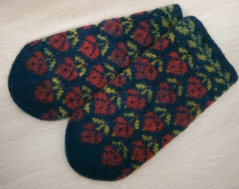 mittens with pattern