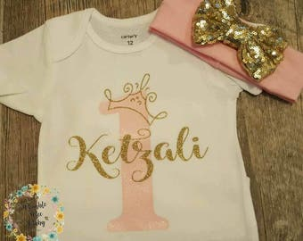 Girls First Birthday, 1st Birthday, Princess, Queen, One, Birthday Bodysuit, Birthday T-Shirt *CAN BE ANY Birthday