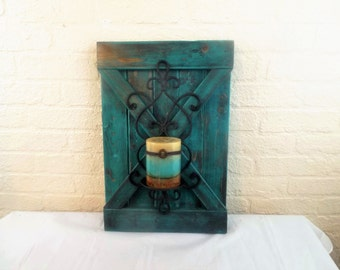 Turquoise Wood and Metal Barn Door Candle Holder