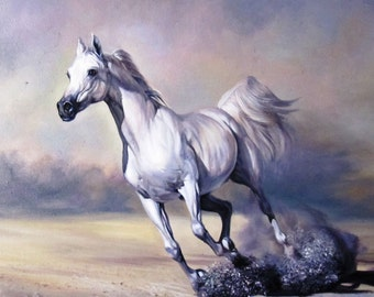 Free Shipping, Horse Painting, White Horse, Horse Oil Painting on Canvas, Realism, Custom Oil Painting, Horse portrait, Gift for The Holiday