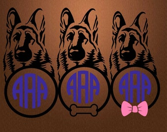German shepherd svg, Dog svg, Dog clipart, Dog silhouette, German shepherd clipart, Dog monogram svg, Cricut, Cameo, Svg, DXF, Png, Pdf, Eps