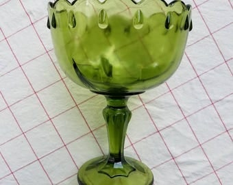 Vintage green glass pedestal candy dish