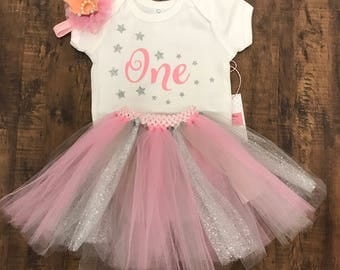Silver and pink first birthday outfit baby girl