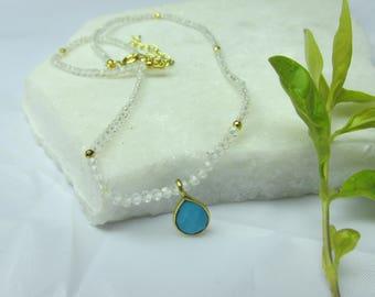 White topaz necklace ,white color necklace,gemstone necklace,choker necklace, short necklace,tiny pendant necklace,