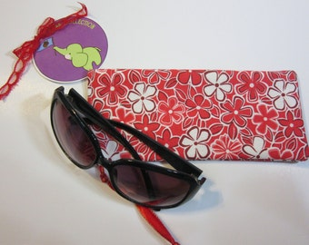 Eyeglass Sunglass  Case Drawstring Pouch-Red and white flowers