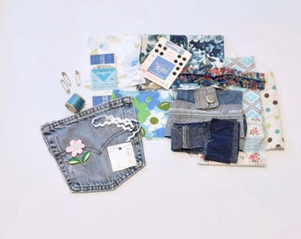 Mixed Media, Fabric Scraps, Stash, Denim Pocket, Upcycled Remnants, Thread, Notions, Button, Patchwork, Cotton, Floral, Thread