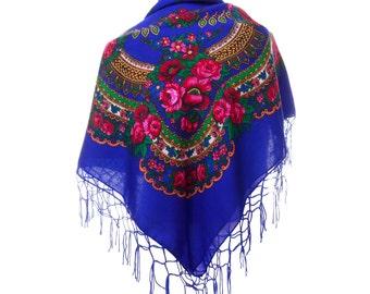 Big BLUE folk SCARF shawl royal blue with flowers and fringes POLISH scarves fashion colors