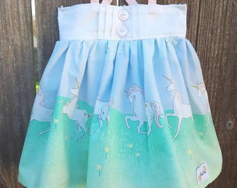 Pleated Bodice with Tie Straps Spring Unicorn Dress