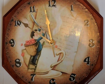 Decoupage handmade wall clock with a Kitchen feel - Wooden wall clock