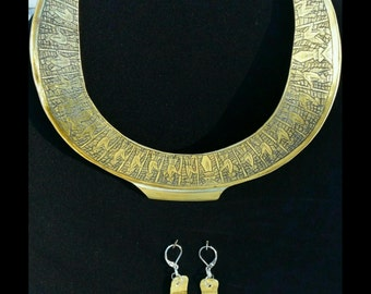 Egyptian theme collar necklace and earrings