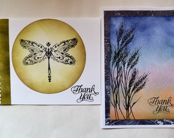 Handmade Cards, Note Cards two in set, Thank you Cards