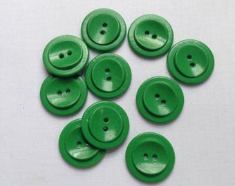 10 Vintage bright green buttons