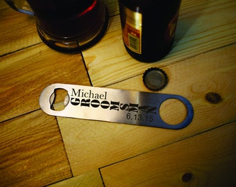 9 Personalized Beer Openers - Groomsman Gifts - Wedding Favors - Bridal Party Gifts - Guy Gift - Custom Wedding - Gifts for Dad - Home Bar