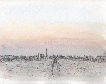 Berlin #1, biro on watercolour, Brandenburg, skyline, Germany, Original Artwork