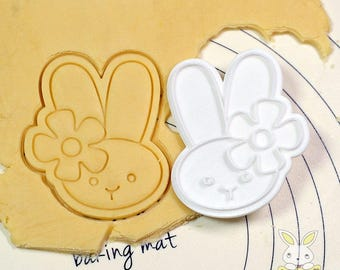 Rabbit wearing Flower Cookie Cutter and Stamp
