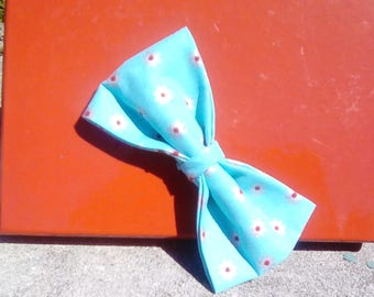 Teal with Red Flowers Bowtie