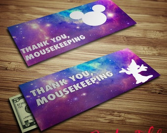 Mousekeeping Envelopes - Galaxy Mickey - Printables - Tip Envelopes - Instant Download