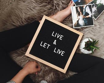 Black felt letter board type board typography home decor