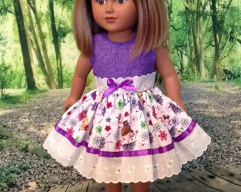 """Adorable purple and white ballerina motif dress for 18"""" doll"""