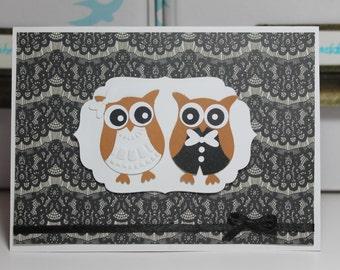 Cute owls handmade wedding card