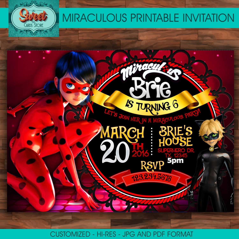Miraculous personalized digital invitation miraculous ladybug