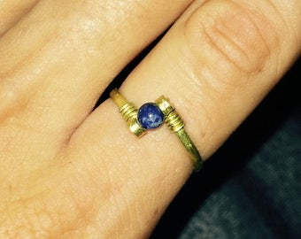 Ethnic Ring Gold|Blue