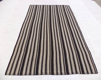 Black And Grey Stripe Rug68x103 Feet 202x312 Cm