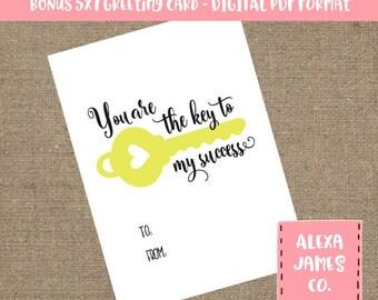 BONUS Thank You Card PDF, You are the key to my success svg, Teacher gift svg, Thank you, Print Cut File, Teacher, svg dxf pdf png