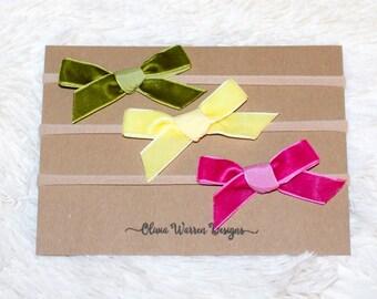 Velvet bow headband set