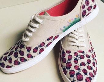 Custom Ladybug/garden inspired sneakers