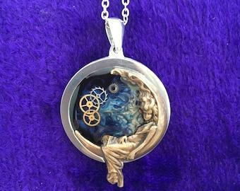 Steampunk Necklace Art Nouveau Pendant  Goddess Moon