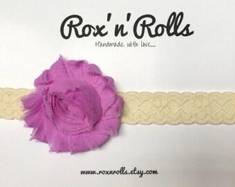 Baby, toddler, newborn, girls purple vintage flower headband accessories