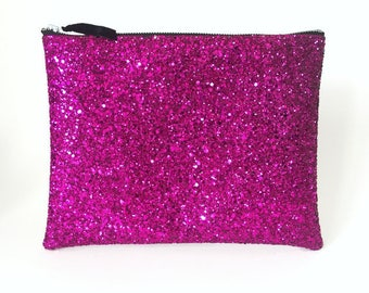 Pink Glitter Clutch Bag, Fuchsia Wedding Clutch, Prom Clutch Bag, Glitter Wallet, Glitter Purse, Bridesmaid Clutch, Gift for Her, Evening