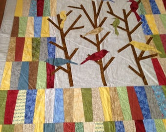 Home-made quilt, hand made quilt, throw quilt, lap quilt, custom quilt, bird quilt