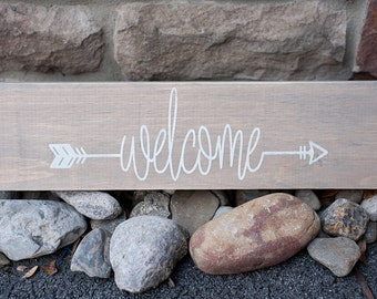 Welcome wood sign | Rustic wood sign | Home Decor | Custom made sign | Farmhouse sign